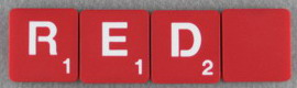 SCRABBLE tile style M70W-T : Laser Red tile with white letter, Textured surface