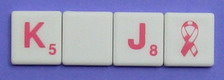 SCRABBLE Tile Style S01P-BC: White tile with bright pink letter
