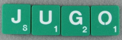 SCRABBLE tile style M39W-T : Emerald Green tile with white letter, Textured surface