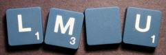SCRABBLE tile style M46W-T : Agave blue tile with white letter, Textured surface