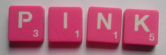 SCRABBLE tile style M80W-T : Pink tile with white letter, Textured surface
