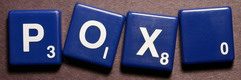 SCRABBLE tile style S45W : Blue tile with white letter